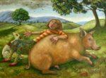 Oil on Canvas Pig Philosophy