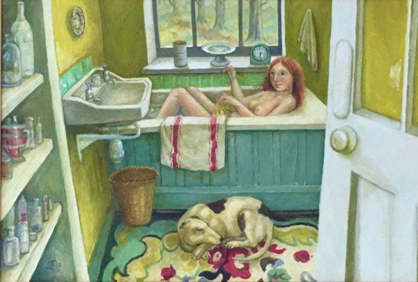 Oil on Canvas  Yellow Bathroom with Green Bath