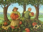 Oil on Canvas The Pumpkin Pickers