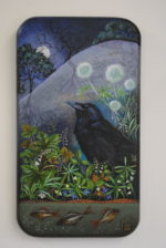 Hand Painted Oak Panel 'A Pale Moon'