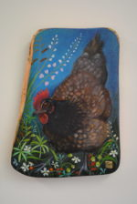 Hand Painted Olive Wood Panel 'Little Hen'