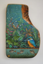 Hand Painted Olive Wood Panel 'Quiet Pool'