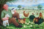 Oil on Canvas Contented Farmer