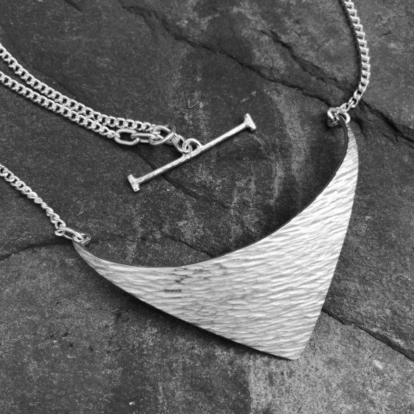 Silver Hammered Lustre Line Triangular Necklace