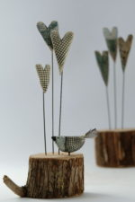 Ceramic & driftwood  Bird & Triple Heart Stems