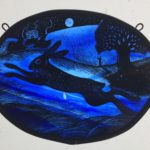 """'""""Stained Glass panel Blue Moonlit Hare"""""""