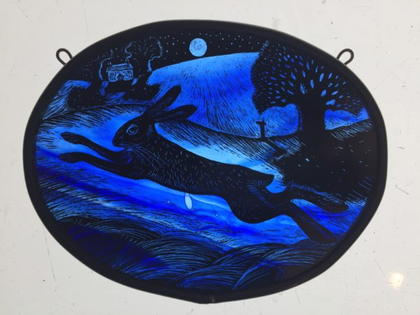"'""Stained Glass panel Blue Moonlit Hare"""