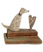 'Sitting Dog' Ceramic and Driftwood