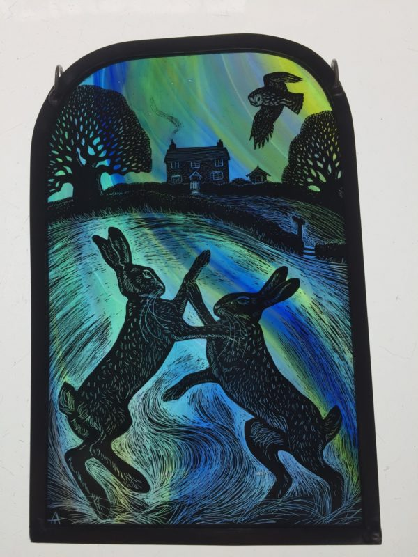 Stained Glass Boxing Hares