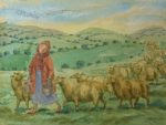 Original Watercolour Bringing in the Sheep