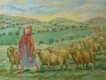 Original Watercolour Bringing in the Sheep