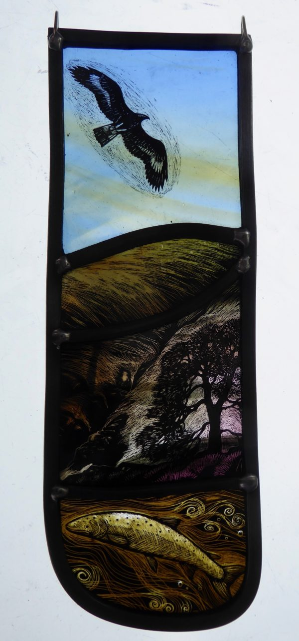 """'Stained Glass panel Where Eagles Fly"""