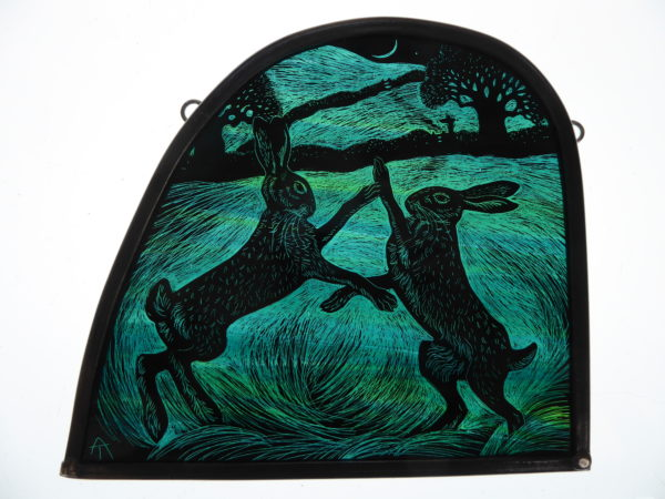 """'Stained Glass panel Boxing Hares"""
