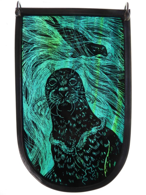 '''Stained Glass panel Selkie Seal""