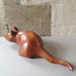 Hand carved wood sculpture Crouching Cat