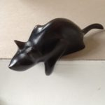 Hand carved wood sculpture Thoughtful Cat