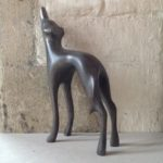 Hand carved wood sculpture Greyhound Looking Up