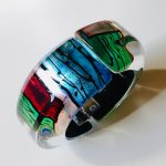 Acrylic Oblong Hinged Bangle Peacock