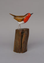 Hand Carved Wood  'Perching Robin'