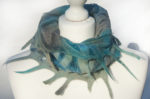 Hand Felted Cowl in Greys and Blues