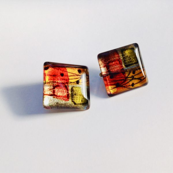 Acrylic Flat Square Clip Earrings in Orange Grey