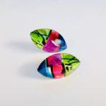 Acrylic Marquise Stud Earringsin Peacock