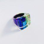 Acrylic Ring in Peacock