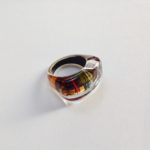 Acrylic Oblong Ring in Orange Grey