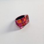 Acrylic Rectangular Ring in Burgundy Orange Spot