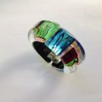 Acrylic Oblong Hinged Bangle  Peacock