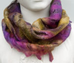 Hand Felted Cowl in Purples and Greens