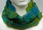 Hand Felted Cowl in Turquoise and Green