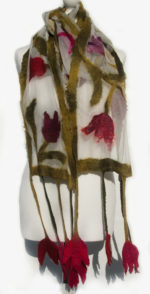'Nuno Felted Scarf 'Watercolour Tulips'