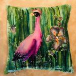 Pink on Green Reed Bird
