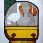 Stained Glass Panel Woman with Pelican