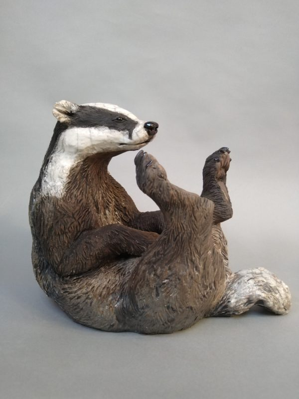Raku Fired Reclining Badger