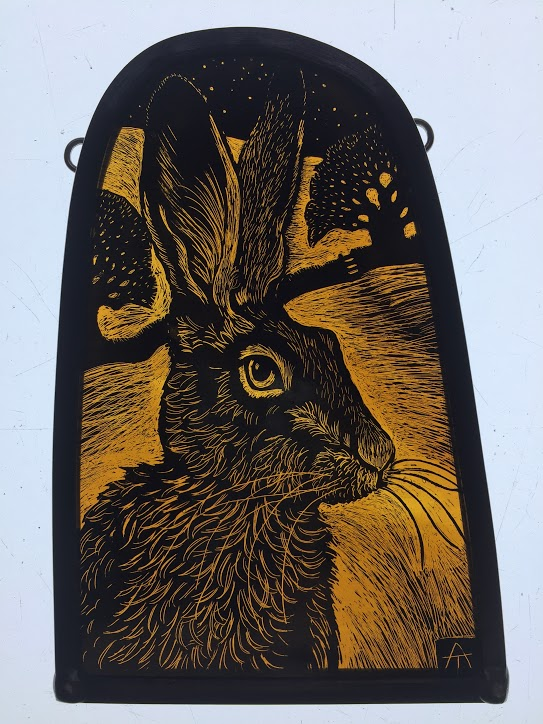 Stained Glass 'Golden Hare'