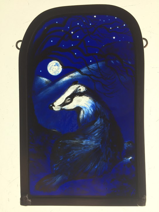 Stained Glass 'Winter Badger'