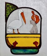 Woman with Pelican Stained Glass