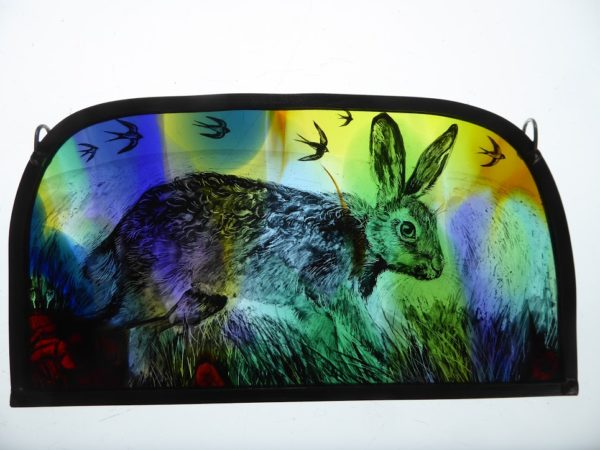 """""""Stained Glass 'Meadow Hare'"""