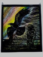 """Stained Glass Panel 'Raven'"