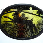 Stained Glass panel Moonlit Leaping Hare