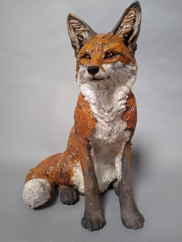 Raku Fired Seated Fox