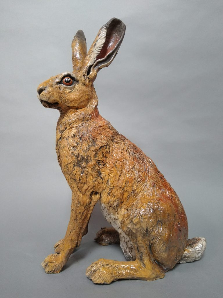 Raku Fired Sitting Hare