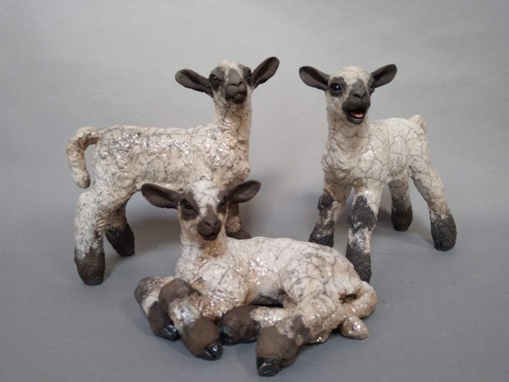 Raku Fired Flock of lambs