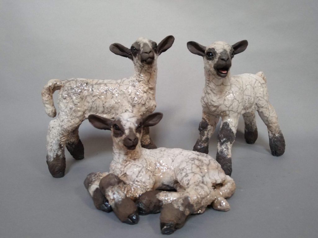 Raku Fired Flock of lambs