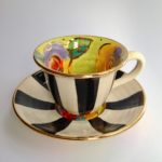 Black & White Striped Cup & Saucer