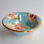 Blue & Pink Roses Cereal Bowl