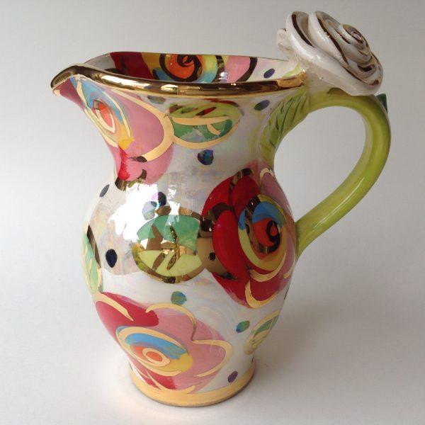 Ceramic Rose Handled Creamer
