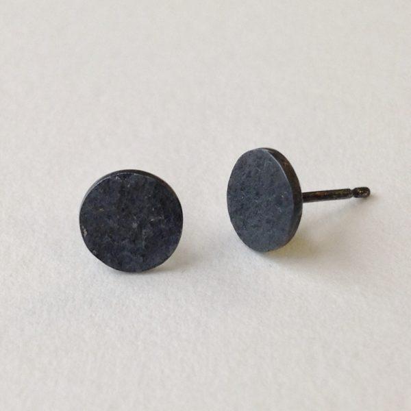 Disc Studs Oxidised Silver Earrings